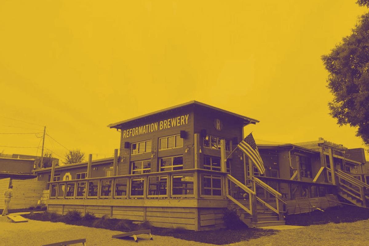 Outdoor shot of Reformation Brewery in Woodstock, GA.