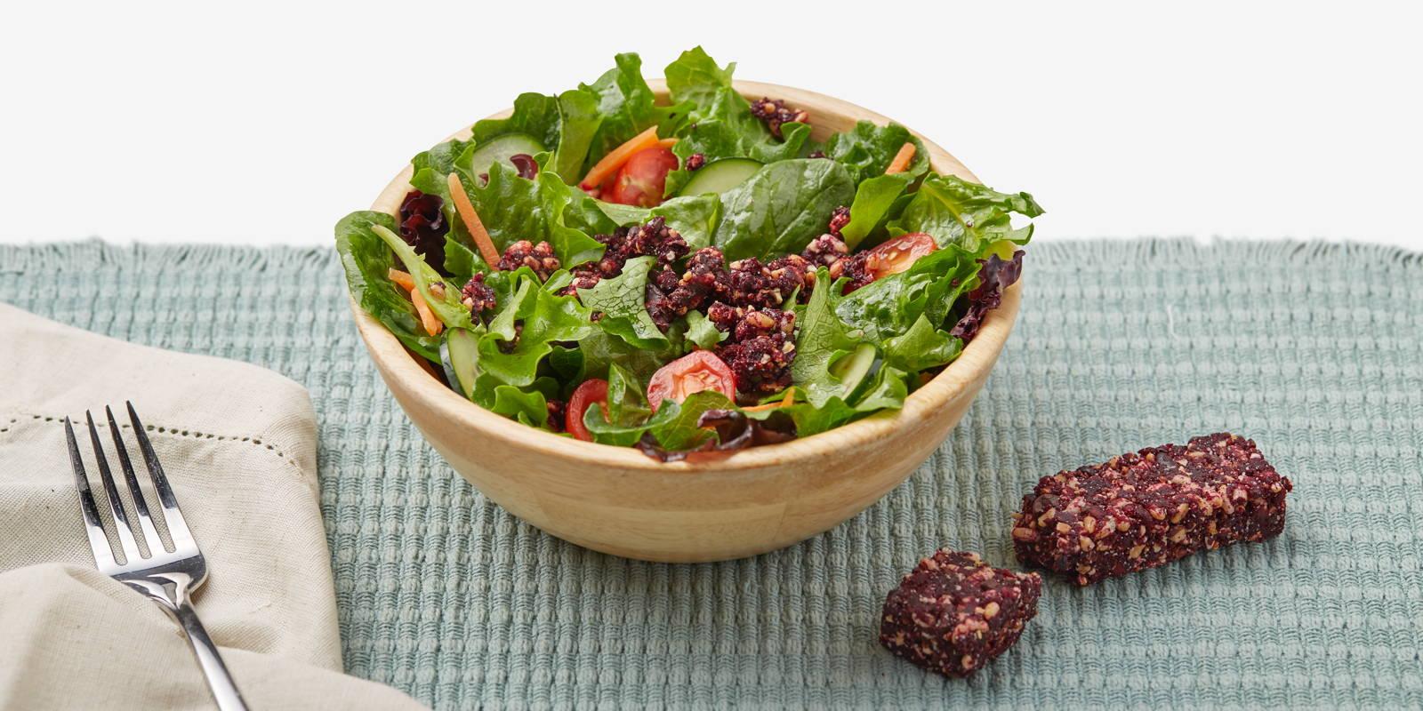 garden salad with ZENB bar