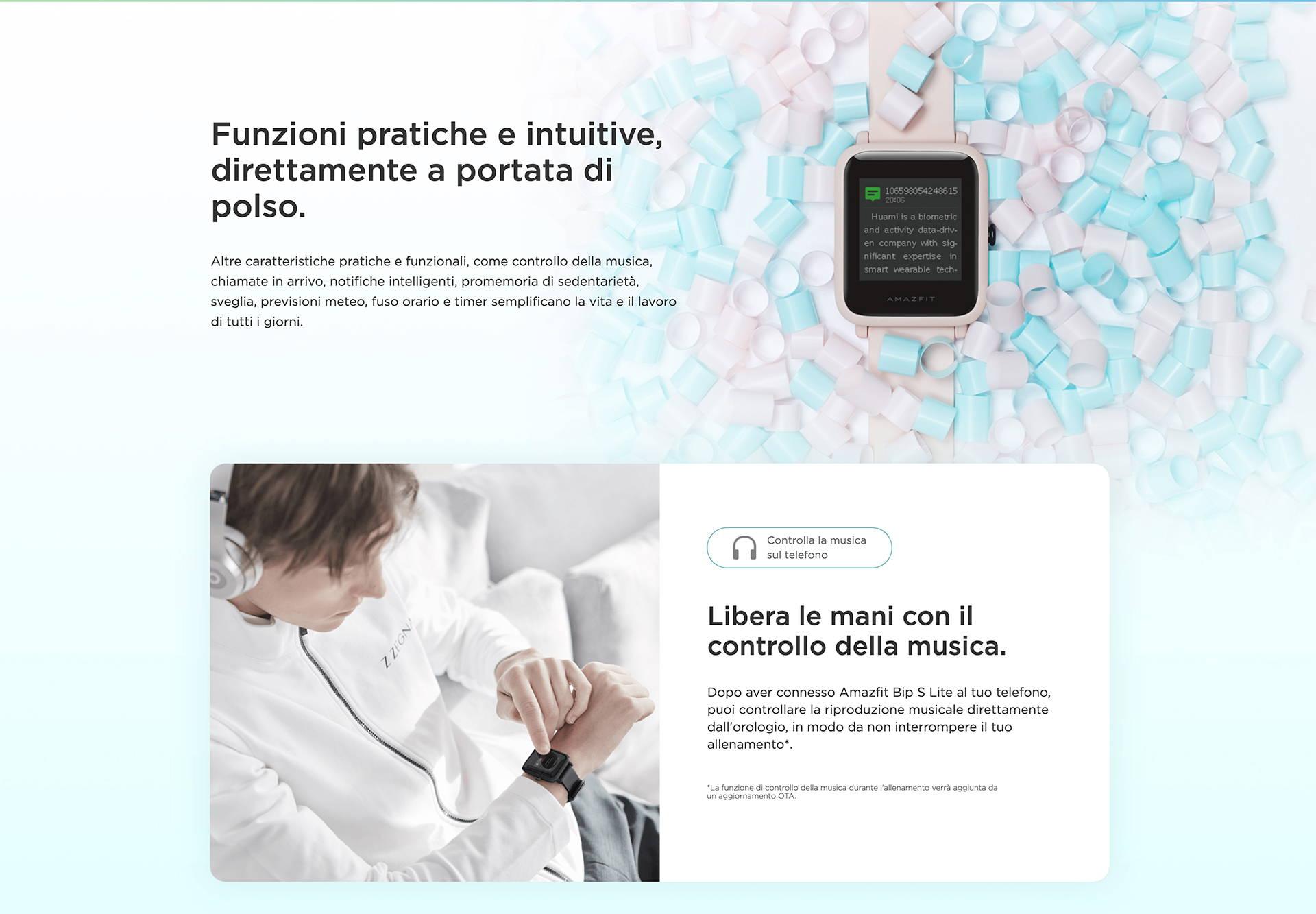 Amazfit IT - Amazfit Bip S Lite - Funzioni pratiche e intuitive, direttamente a portata di polso. | Libera le mani con il controllo della musica.