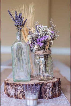 rustic flower bottle center display