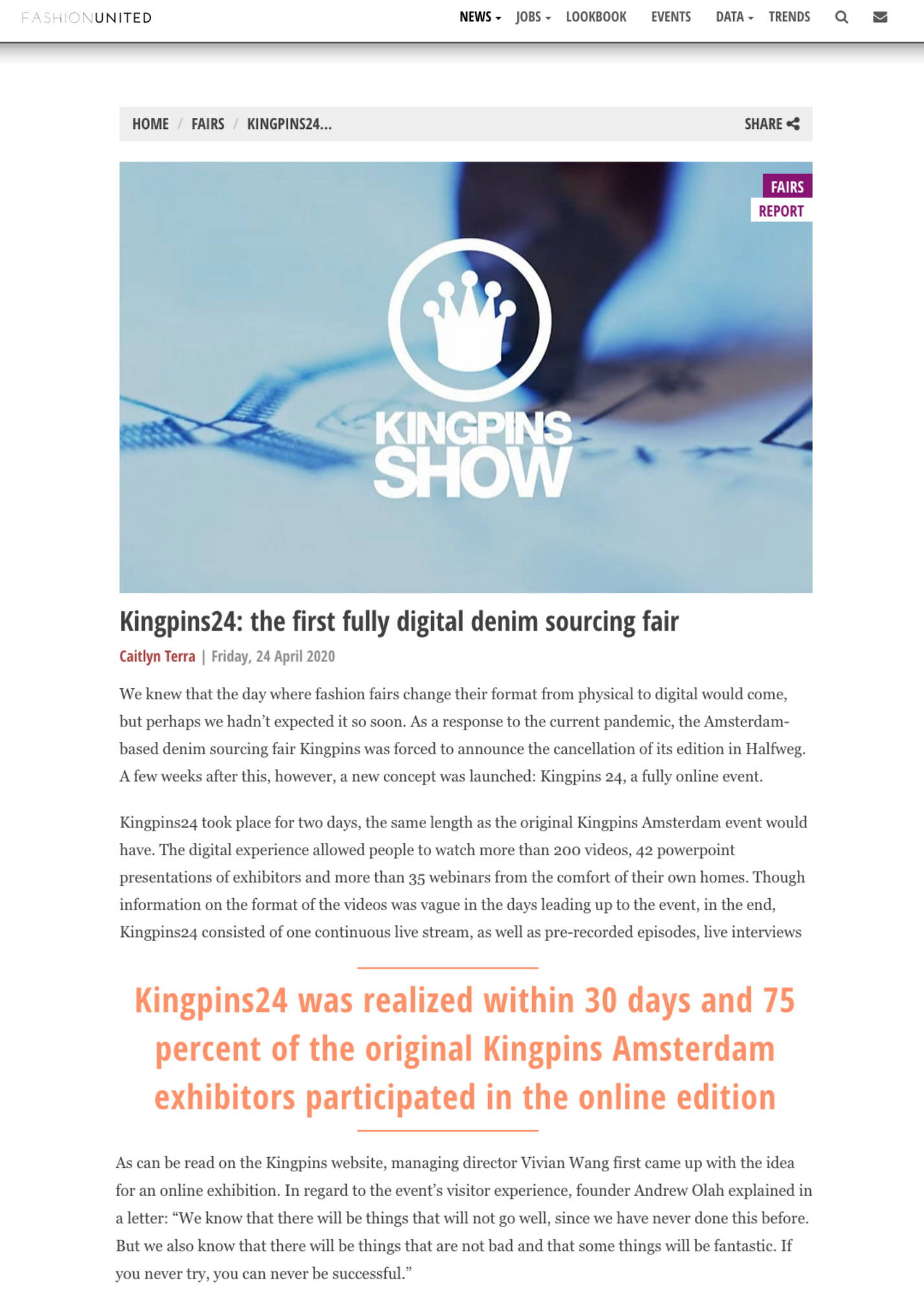 Kingpins24: the first fully digital denim sourcing fair article