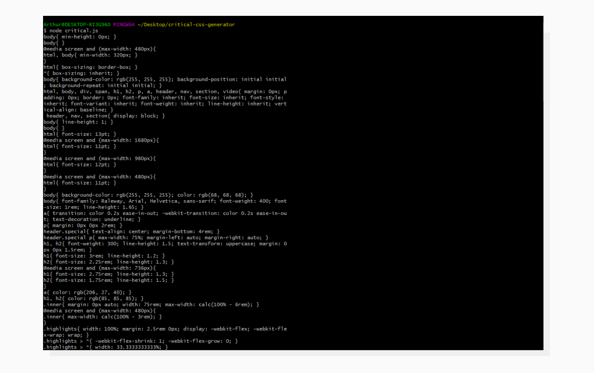 A screenshot demonstrating Critical CSS being written to the console.