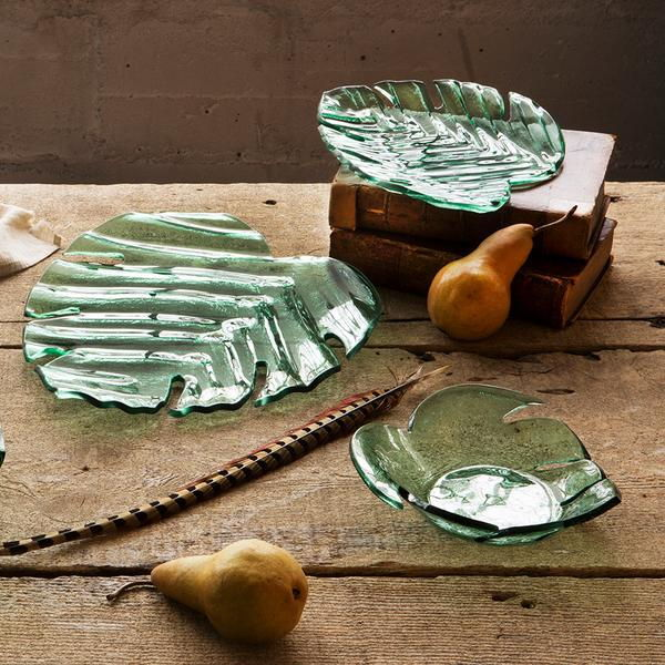 leaves collection nature inspired green glass serving pieces