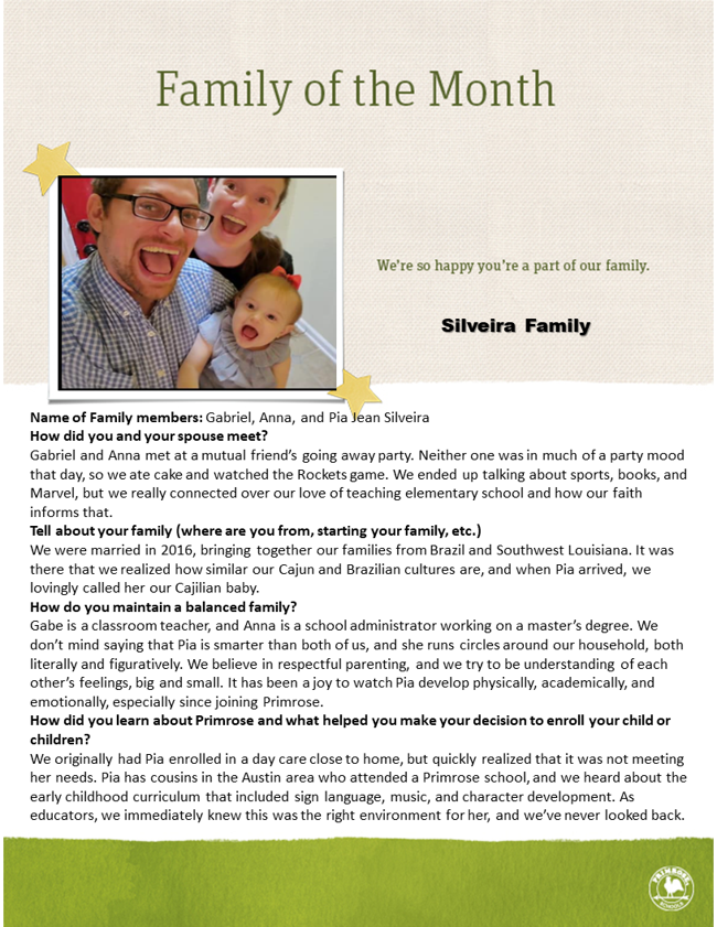 About the Silveira family and a picture of an open smiling dad, mom, and toddler girl