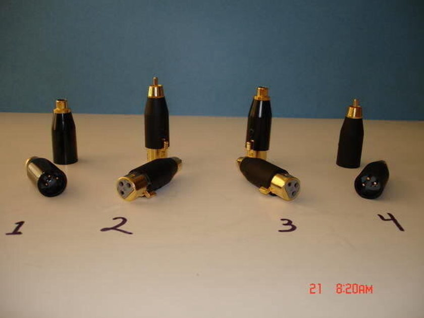 XLR to RCA Adapters Gold Contacts One Pair Adapter