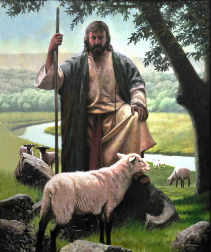 Jesus keeping watch over a sheep that has wandered from the flock into the rocks.