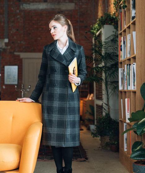 Пальто в клеточку из 100% шерсти