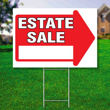 "18"" x 24"" yard sign with red arrow saying ' Estate Sale'"