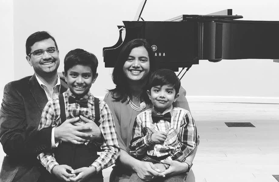 Franchise Owners Neha and Kanak with their two boys