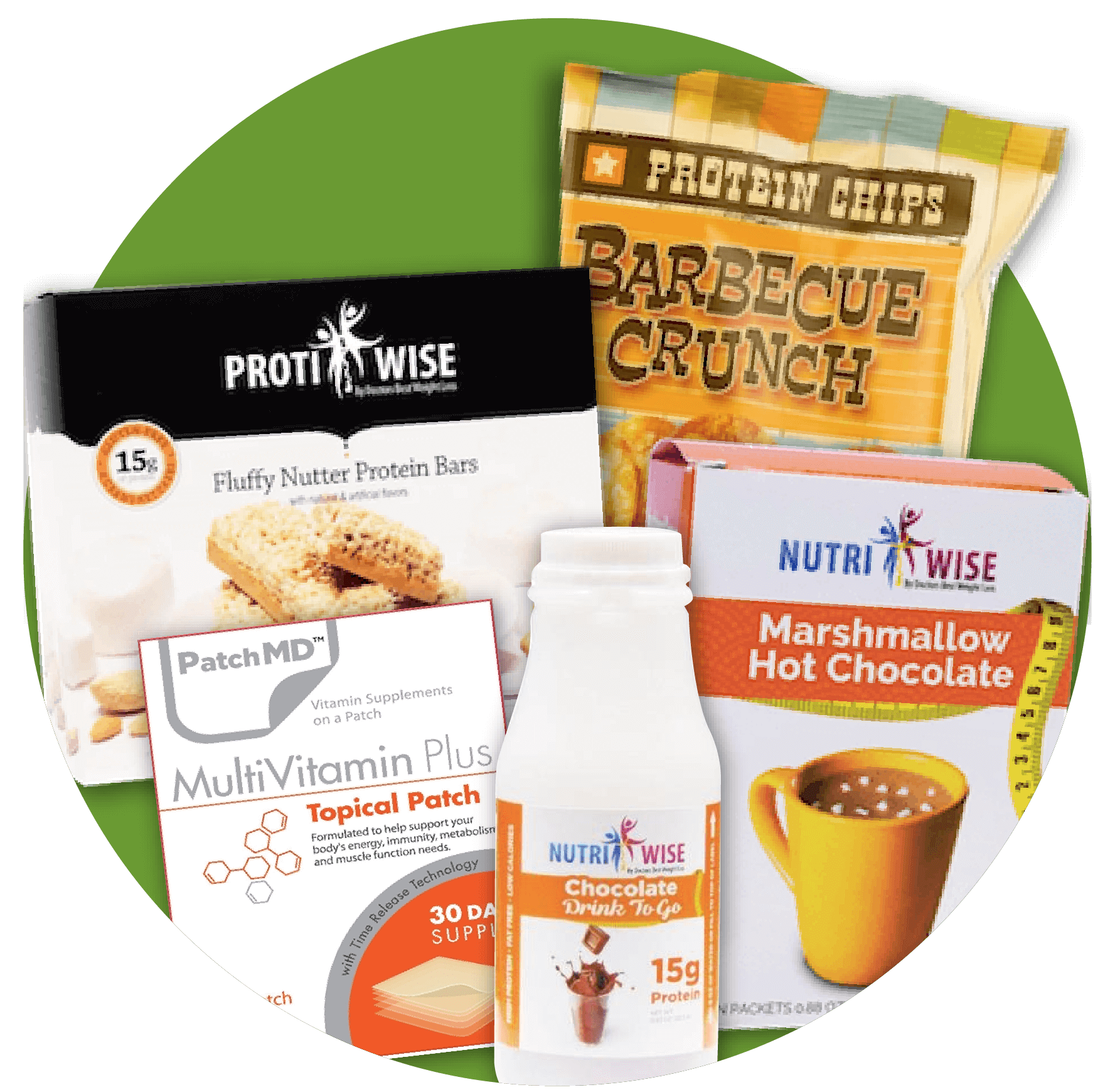 ProtiWise Fluffy Protein Bars box, Barbecue Crunch Protein Chips, NutriWise Marshmallow Hot Chocolate, PatchMD Multivitamin Plus Tropical Patch