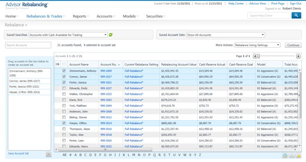 A Sneak peak of the UI redesign for Advisor Xi's re-balancer scheduled to go live in February 2012.