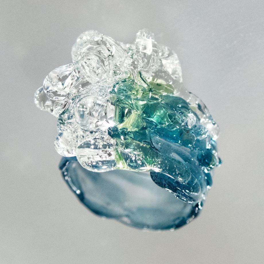 Кольцо Волна и ветер Синий с зеленым