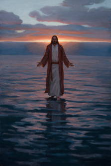 Painting of Jesus walking on the water against a setting sun.