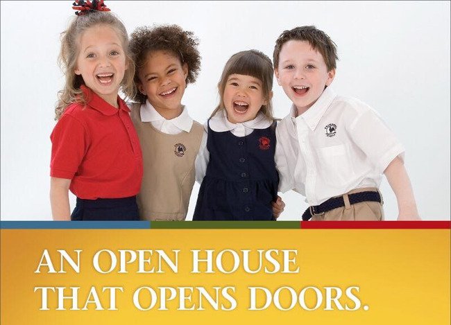 Open house poster featuring happy Primrose students putting their arms around each others shoulders and smiling