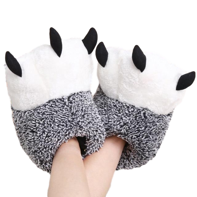 pantoufles pattes panda grises