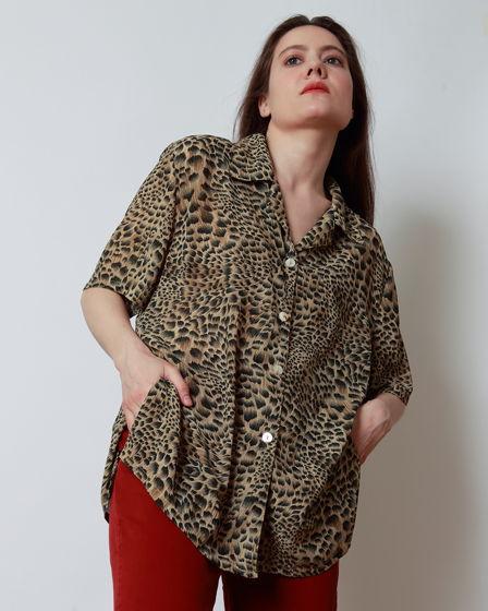 Винтажная блузка оверсайз с анималистичным принтом,  90-ые