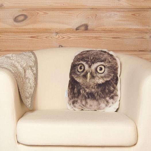 Подушка  Совёнок – льняная декоративная подушка в виде совы