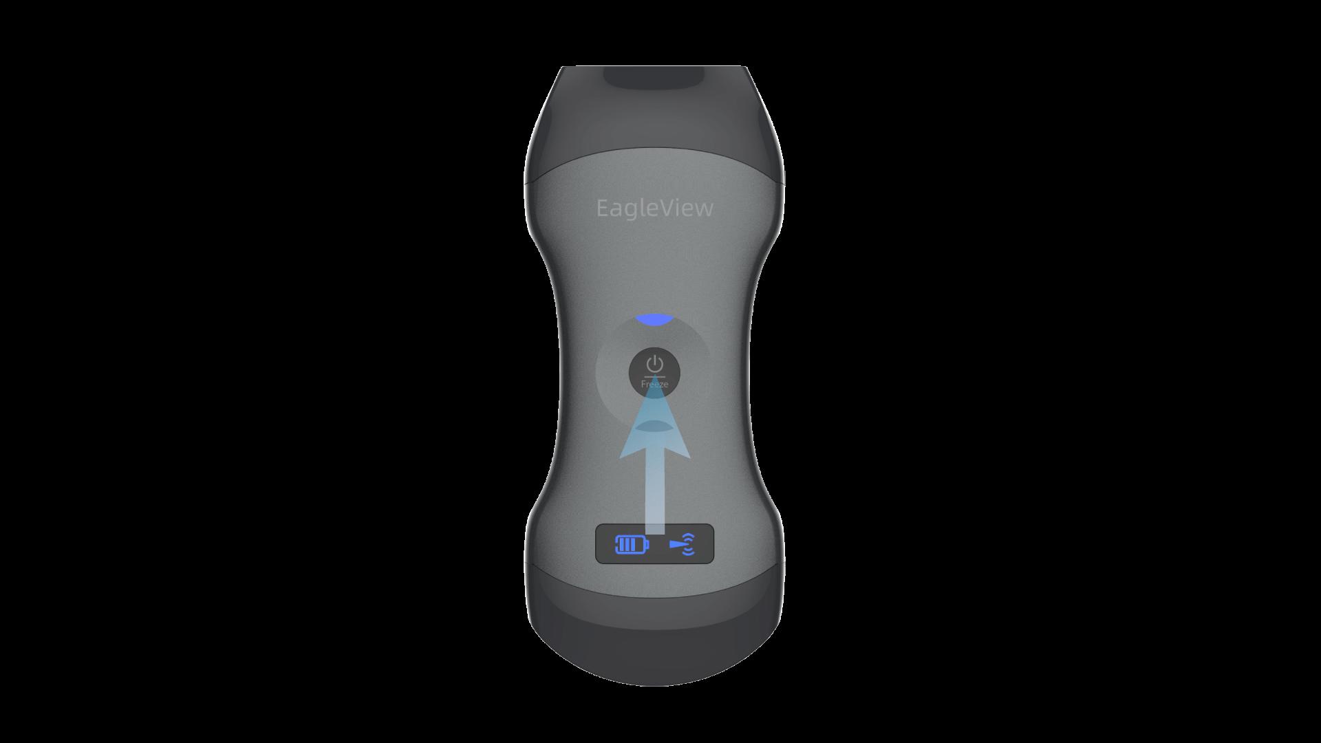 Starten Sie den Eagleview-Ultraschall, indem Sie den Netzschalter in der Mitte drücken.