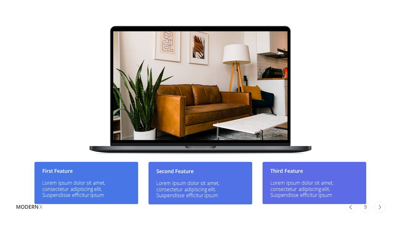 Modern X  Company Profile Presentation Template Product Features