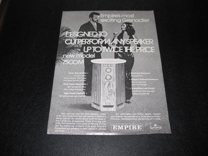 EMPIRE MODEL 7500M GRENADIER SPEAKERS - -AD SLICK-  FAST SHIPPING