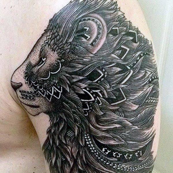 Tatouage Lion Sanskrit