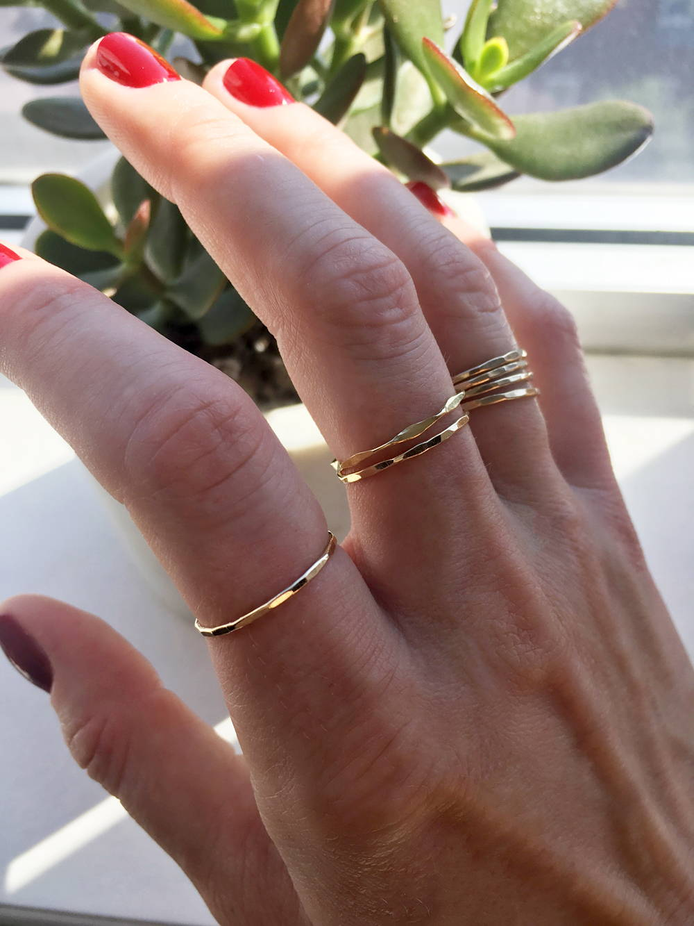 gold filled stacking rings by delia langan jewelry