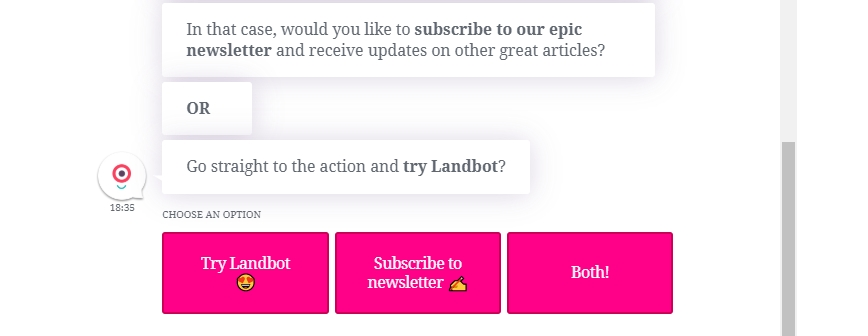 Landbot keeps their email opt-in casual, like a friendly conversation.