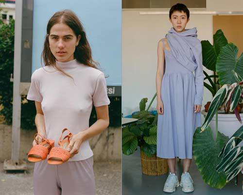 Woman wearing ribbed mock neck t-shirt holding a pair of orange sandals and woman wearing a light lavender strap organic cotton sustainable dress with chunky dad trainers and a lavender hoodie half on half off