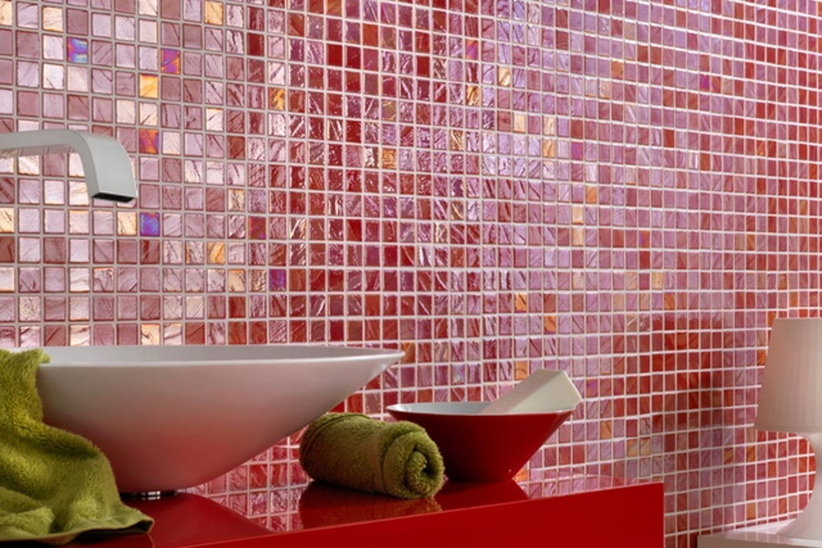 093770M - Red Iridescent, 1 x 1 Glass Tile