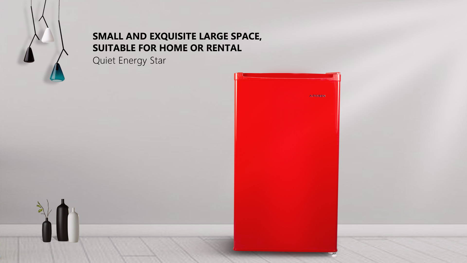 APOSEN 3.2CU Red Refrigerator Small and Exquisite Large Space, Quiet Energy Star ——AR32