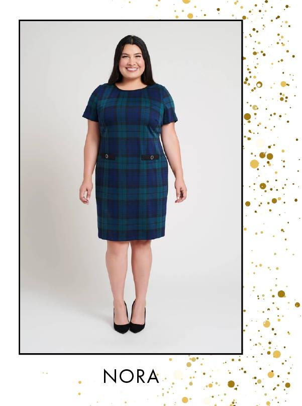 Shop Nora Navy & Hunter Plaid Dress >