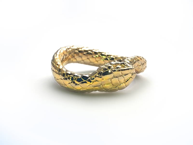 yellow gold snake ring
