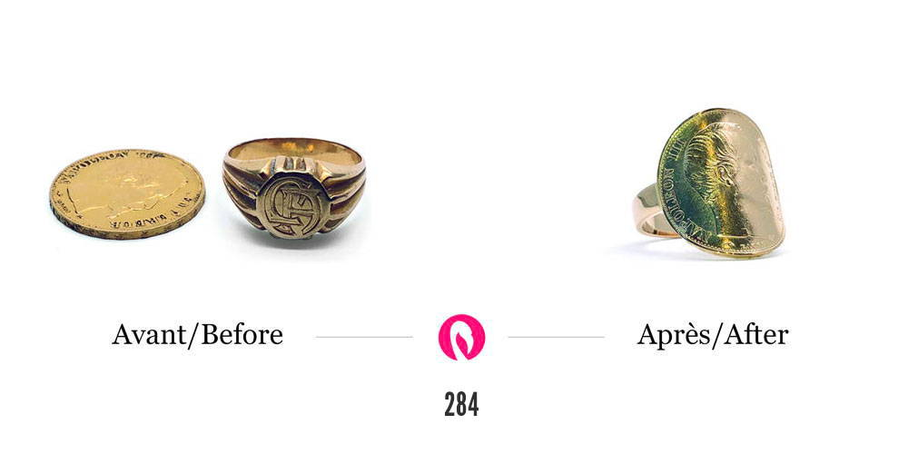 Transformation d'une chevalière en or jaune et d'une pièce d'or Napoléon en une bague avec pièce de monnaie fixée et courbée.