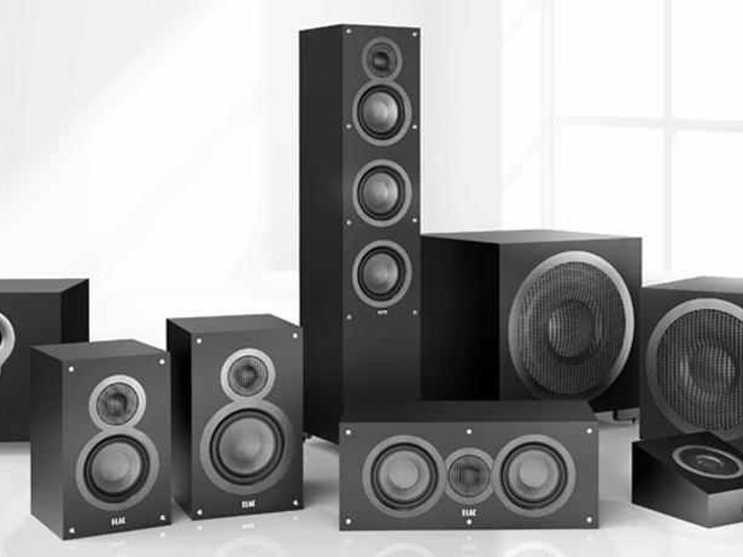 Elac Debut Surround sound package designed by Andrew Jones.