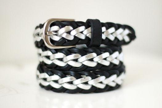Кожаный плетеный ремень (черный/серебро)