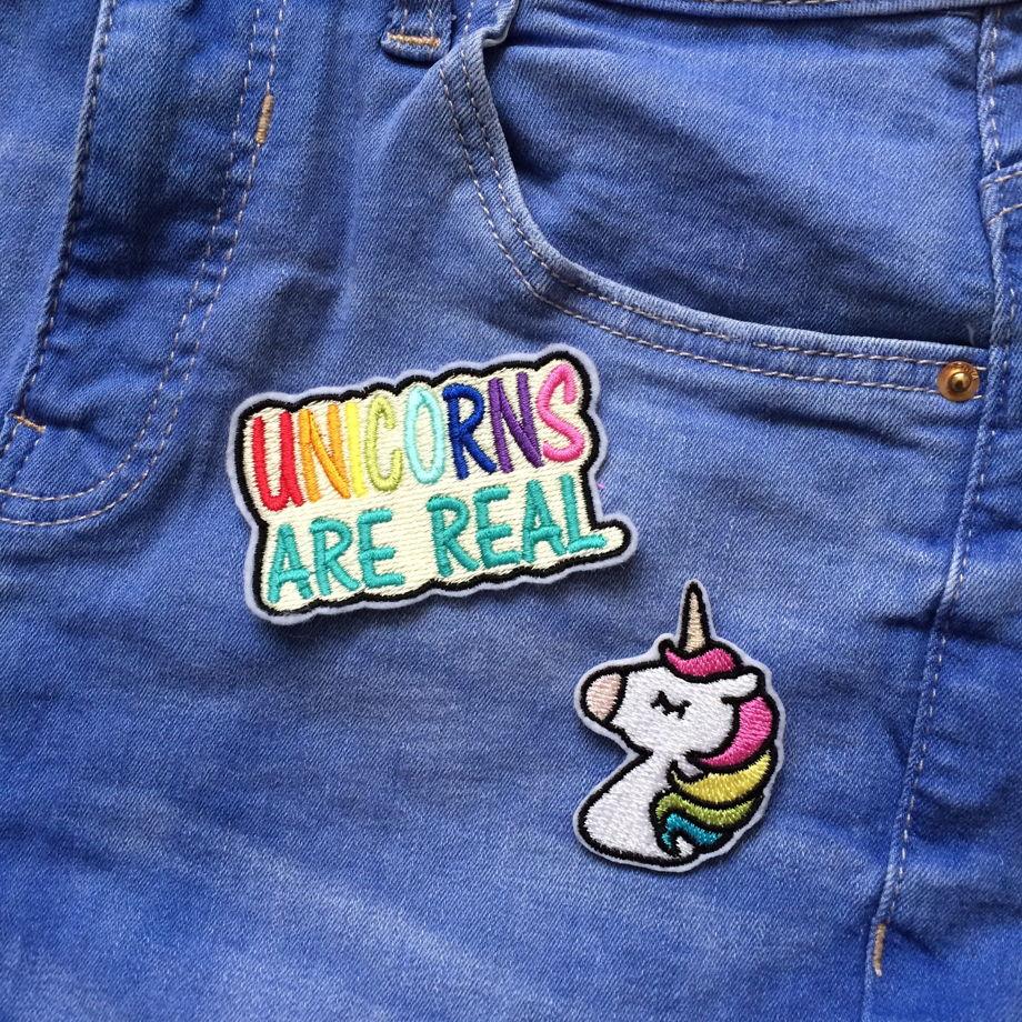 """Вышитая нашивка  """"Unicorns are Real"""""""