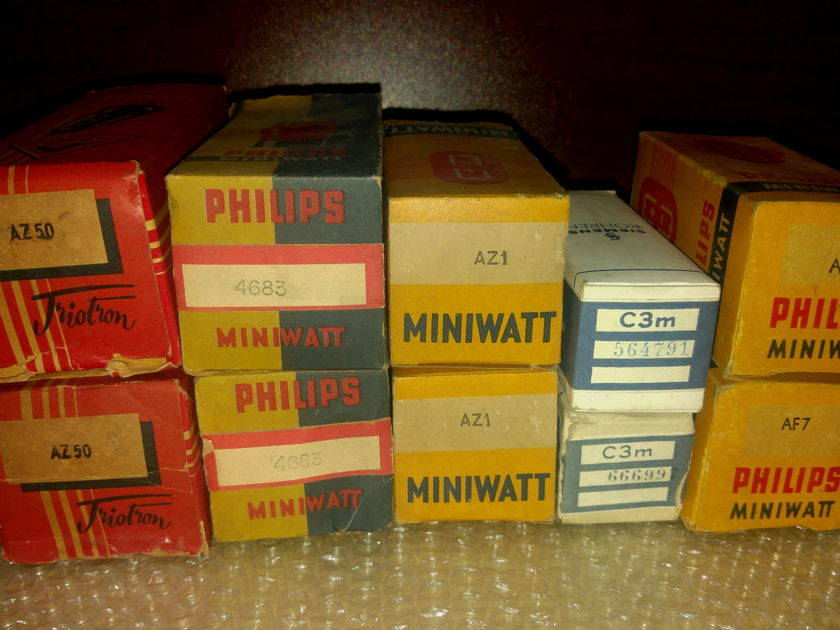 Philips Miniwatt,Siemens,  AD1, AF7, Cm3, AX50 Complete set 10 tubes to bult a SE AD1 Amplifier
