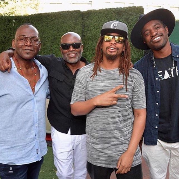 lil jon wearing the cannabist hat with randy jackson and andre 3000