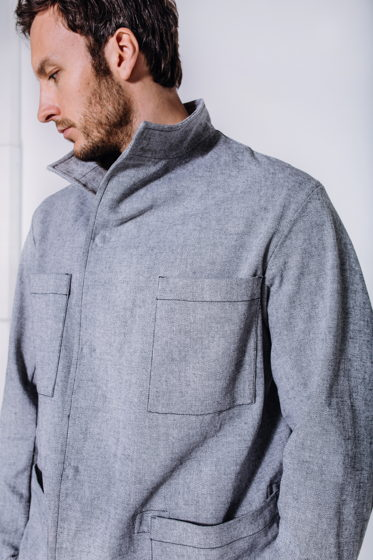 Светло-серая куртка-пиджак из хлопка - #52