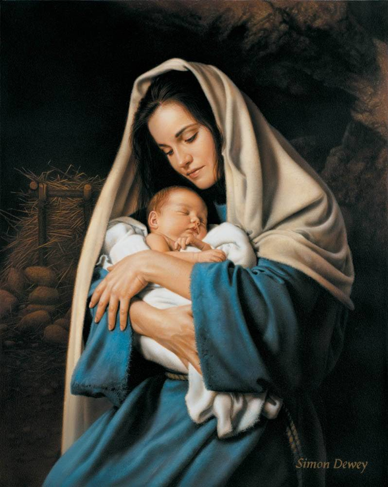 LDS art Nativity print of Mary hugging a sleeping infant Jesus. The backdrop is a stable setting.