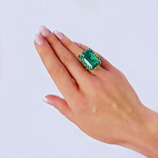Кольцо с Апатитом золото GF 14 карат