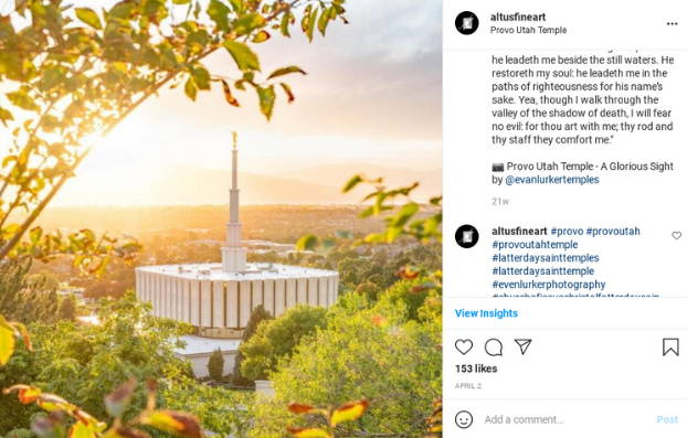 Instagram post featuring an aerial photo of the Provo Temple.