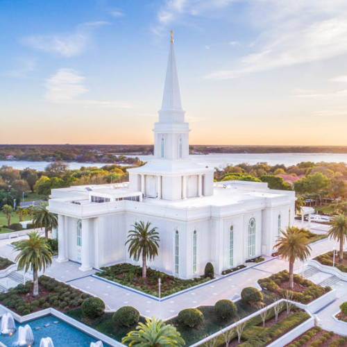 Aerial shot of the Orland Temple with a lake in the background.