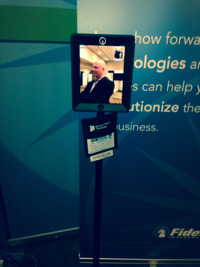 Fidelity robot FaceTime making conversation with correspondent Tim Welsh.