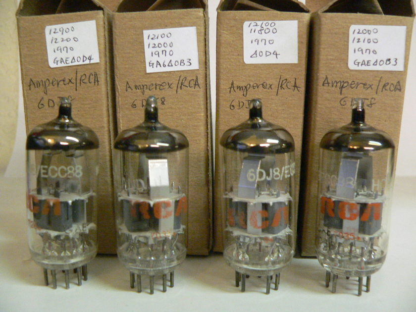 2 Matched Pairs of Amperex 6DJ8/ECC88 Made in Holland