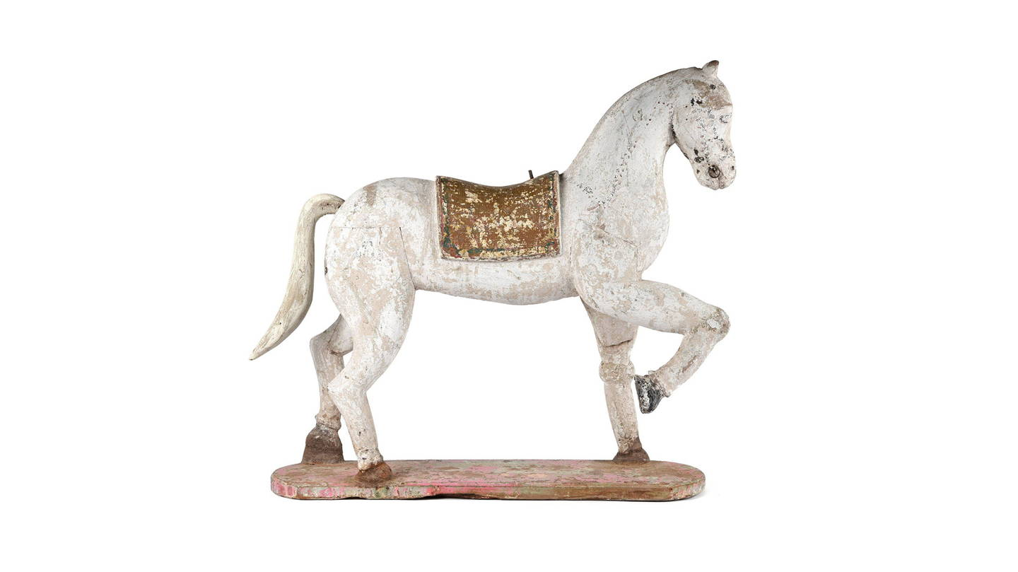 Painted Horse Statue From Rajasthan - Ca 1920 | Indigo Antiques