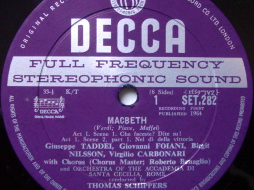DECCA SET-WB-ED1 / SHIPPERS-TADDEI, - Verdi Macbeth, MINT, 3LP Box Set!