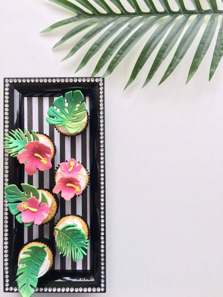 Tropical flower and leaf cupcakes