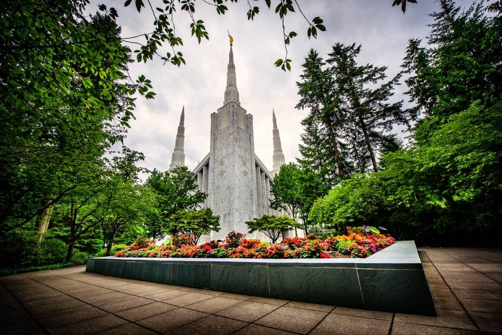 LDS art photo of the Portland Oregon Temple taken from the front at a low angle.