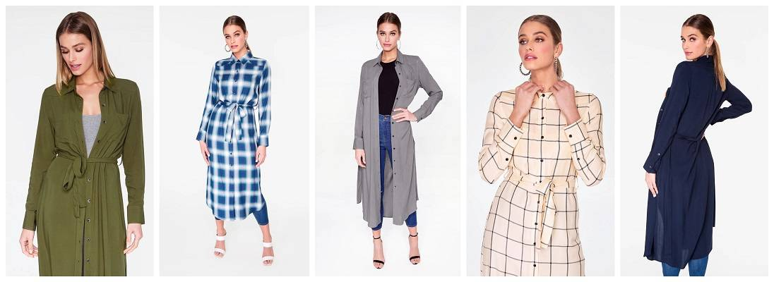 Long-Sleeve Button Up Duster